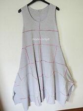 BORIS INDUSTRIES cooles Zipfel Träger Kleid Ziernähte weiß Streifen 46 (4)