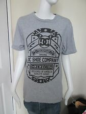 DC SHOE COMPANY - GREY PRINT S/SLEEVED DISTRESSED C - NECK T-Shirt Size SMALL