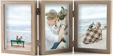 Triple 5x7 Picture Frames Hinged Wood 3 Opening Frame Vertically Display
