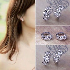 Women Fashion 925 Silver Ear Stud White CZ Earrings Wedding Engagement Jewelry