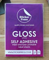 A4 Gloss White Self Adhesive Sticker Paper, Inkjet and Laser Printable Labels