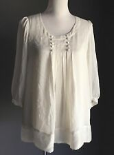 Gorgeous CHATELAINE Ivory Blouse with Button Detail Size 10 - Great Condition