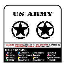 3 Adesivi STELLA Jeep CJ CJ3 CJ5 CJ7 CJ8 US ARMY cm 35x35 stella militare 4X4