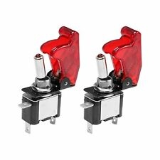 For Car Truck Red Cover LED Toggle Switch Racing SPST ON/OFF 20A ATV 12V 2PCS