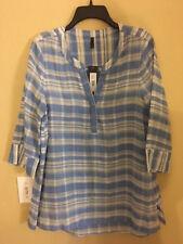 NEW NYDJ Ceramic Blue Stripe Button Front Tunic top Size M $98 Coverup Runs Big