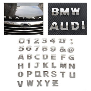 40pcs New 3D DIY Metallic Alphabet&Number stickers car Emblem letter Badge Decal