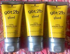 3 New got2b Glued Styling Spiking Glue 6 Oz Each Screaming Hold Grip Free Ship!!