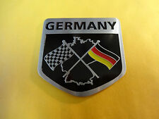 Brushed Aluminium Germany Chequered and German Flag Car Badge VW Deutschland