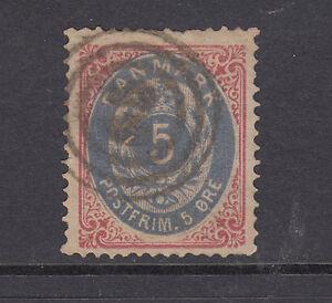 Denmark Sc 27 used 1879 5o rose & blue Numeral
