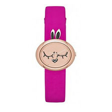 NEW Marc by Marc Jacobs MBM2051 Critters Bunny Rose Gold Tone Pink Leather Watch