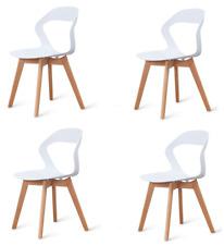 Set 4 sedie vuota  gambe in legno sedie nordiche sala da pranzo Bianco