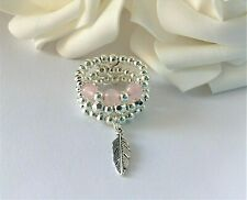 FEATHER CHARM ROSE QUARTZ PINK GEM STRETCH STACKING SILVER THUMB RING SET OF 3