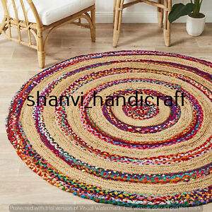 Braided Rug Bohemian Jute & Chindi Round 150 CM Home Decor Floor Area Rug Carpet