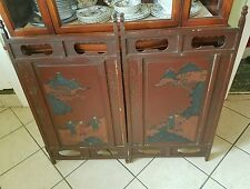 Large Antique Chinese Bi-fold Antique Window Shade with Brass Hinges