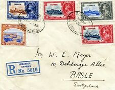 1935 Silver Jubilee Cyprus double weight registered cover to Switzerland