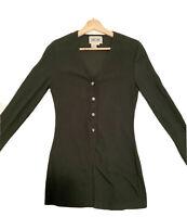 "Vtg 90s Dark Forest Green Nylon Mid Length Cardigan S XS Size 8 ""Like New"""
