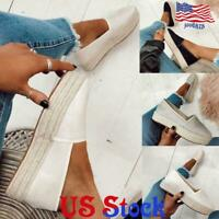 US Women Flat Espadrilles Platform Wedge Slip On Casual Loafers Pumps Shoes Size
