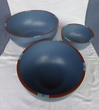 Dansk Mesa Sky Blue 3-Piece Nesting Mixing / Serving Bowl Set - Made in Portugal