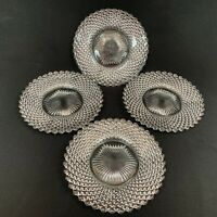 """Westmoreland English Hobnail Bread Butter Dessert 6"""" Clear Glass plates Lot of 4"""
