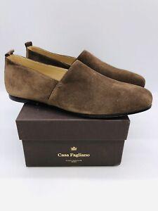 Casa Fagliano Men's Alpargata Slip On Loafers - Chocolate Suede , choose size