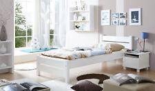 Einzelbett BORA Massivholz Kiefer WEISS 100 X 200 Cm