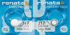 2 x Renata 317 Watch Batteries, 0% MERCURY equivalent SR516SW, Swiss Made