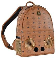 New MCM $1,850 Cognac Visetos WIZPAK 40W Sound System Small Backpack Bag