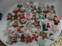 Mixed Lot of 47 Handmade Sewn Christmas Tree Ornaments Santa Snowman Stars Bells