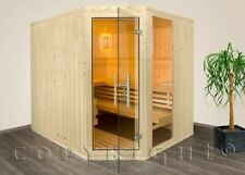 Sauna Massivholz 206 x 162 x 204 cm mit Eckeinstieg Aktion inkl. Saunaofen kpl.
