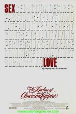 DECLINE OF THE AMERICAN EMPIRE MOVIE POSTER Original 27x41 Rare One Sheet 1986