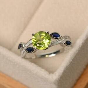 1.40Ct Round Peridot Blue Marquise Engagement Ring In Solid 925 Sterling Silver