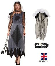 Ladies CORPSE BRIDE Fancy Dress Costume Womens Zombie Scary Halloween Outfit UK