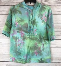 Green Tea Large Floral Beaded Zip Up Hooded Sweater Knit Sweatshirt d4