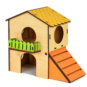 Pet Small Animal Hamster Hideout House Two Layers Plywood Hut Play Toy Rat