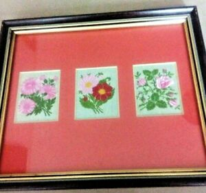3 x Kensitas silk flowers issue 1934 Mounted and Framed