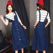 HOT Womens Long Denim Jeans Buttons Suspender Skirt Casual Dress Overalls S-3XL