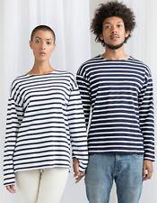 T-Shirt Langarm Unisex Breton shirt Blau Weiß Gestreift Bio Baumwolle XS - XXL