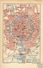Antique print map landkarte Braunschweig Germany 1904