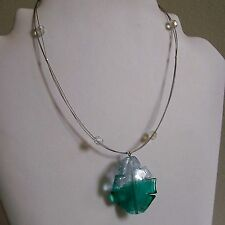 SALE 25% OFF Green & Clear Glass Leaf Pendant Clear Bead Silver Plated Necklace