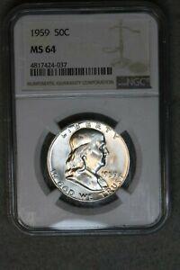 1959 50C Franklin Silver Half Dollar NGC MS64 BU UNC MS US Coin