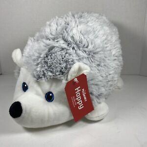 "2020 Petsmart Happy Hedgehog 14"" Plush Toy Squeaks Gray Stuffed Animal"