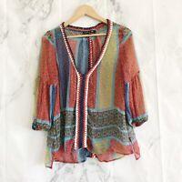 Gypsy 05 boho sheer top crochet small Women's Summer Blouse