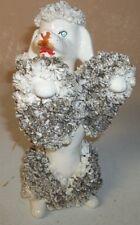 Large Vintage Poodle Dog Figurine/Spaghetti Fur/Turquoise Rhinestone Eyes