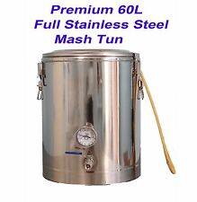 Full Stainless Steel 60L Infusion Mash Tun with False Bottom /Tap/Thermometer