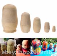 5pcs/set Unpainted DIY Blank Wooden Russian Nesting Matryoshka Dolls Hand Paint