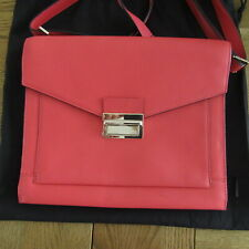 M & S CORAL LEATHER CROSS/BODY HANDBAG LIGHTLY USED 'AUTOGRAPH'