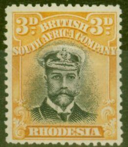Rhodesia 1913 3d Black & Dp-Yellow SG221 Fine & Fresh Mtd Mint
