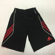 ADIDAS Youth Size M(10/12) Black Athletic Shorts Red Stripes