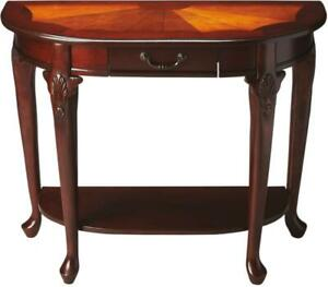 CONSOLE TABLE PLANTATION CHERRY DISTRESSED BRASS-PLATED MAPLE RUBBERWOOD R