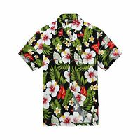 Men Tropical Hawaiian Aloha Shirt Cruise Luau Beach Party Black Red Calla Lily
